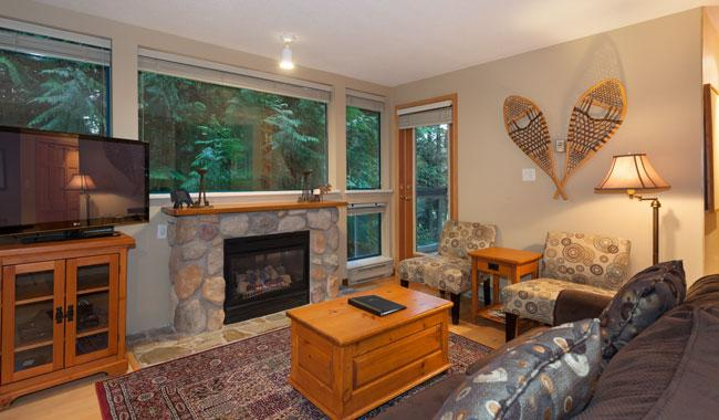 Relax in this Cozy Living Room with Gas Fireplace, Flat Screen TV  - Greystone 223 | Whistler Platinum | Ski-in/Ski-out - Whistler - rentals