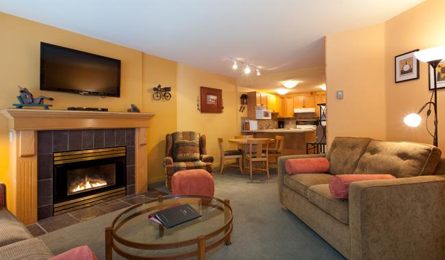 Cozy Living Area with Gas Fireplace, Flat Screen TV - Woodrun 214 | Whistler Platinum | Ski-In/Ski-Out - Whistler - rentals