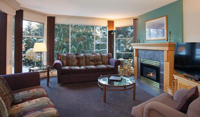 Cozy Living Area with Gas Fireplace and Smart TV  - Woodrun 217 | Whistler Platinum | Ski-In/Ski-Out - Whistler - rentals