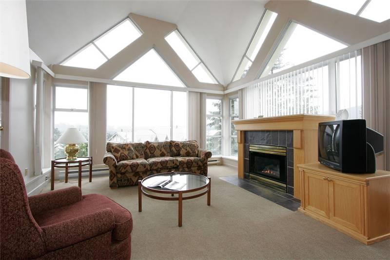 Cozy Living Area with Gas Fireplace, Flat Screen TV (not pictured) - Woodrun 517 | Whistler Platinum | Ski-in/Ski-out - Whistler - rentals