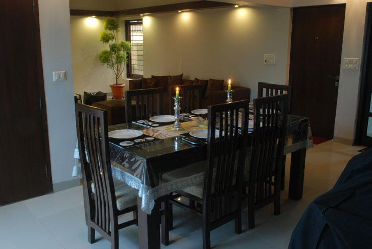 Dining Room.  Picture Taken at 14:00 Hrs Hours.  This pic refrenced in next Snap - 'Ansh' 2 BHK Luxury Service Apartment in Delhi - New Delhi - rentals