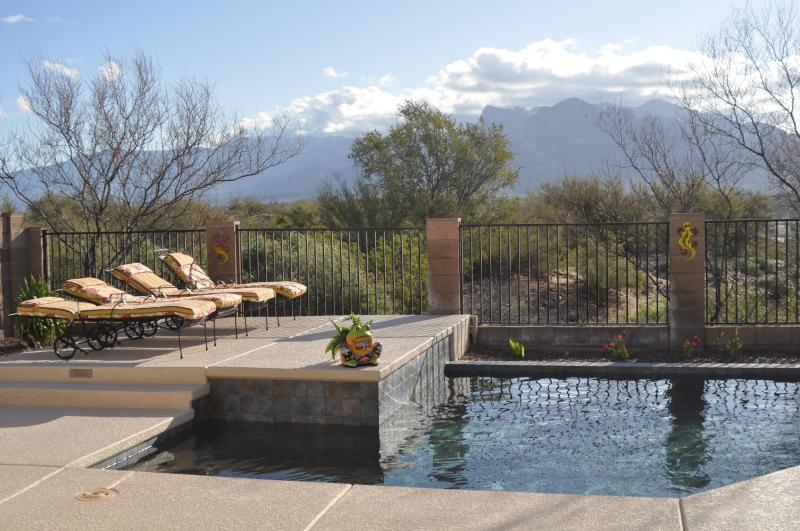 Raised deck for tanning with mountain views - Relax at Desert Dream w/Mountain Views, Pool & Spa - Tucson - rentals