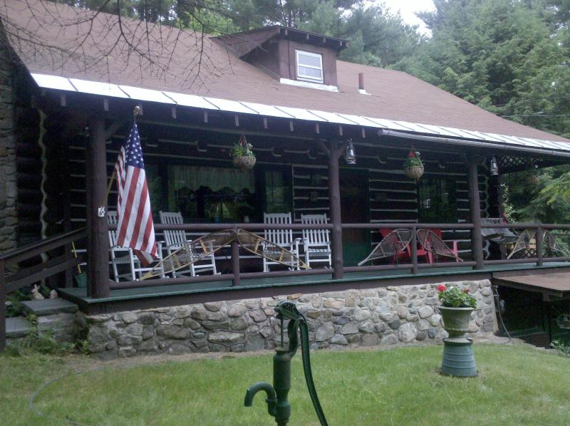 MS Porch - Authentic Log Home Weekly Rentals- Mohican Springs - Lake George - rentals