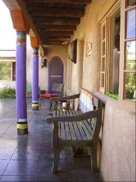 Spanish Portal looking at lush patio - Blue Elk Casa-Up & Down - Taos - rentals