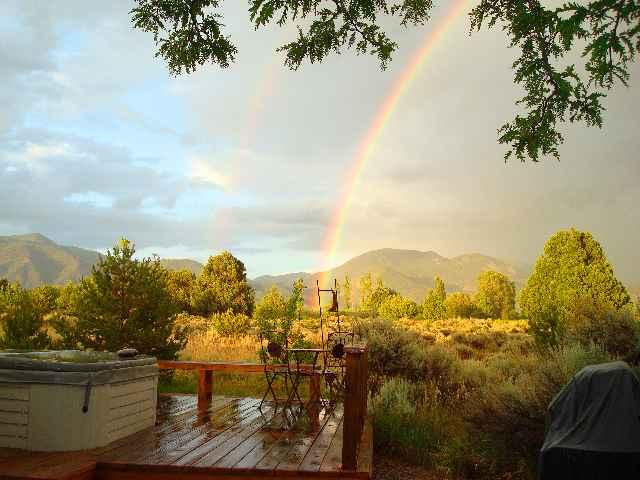 Double rainbow view from private hot tub and deck - Vista Luna - Taos - rentals