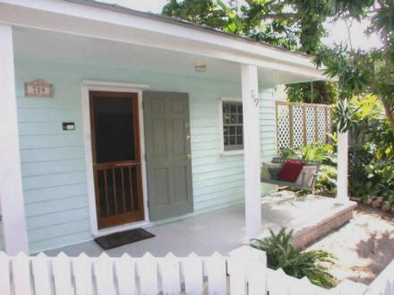 Enjoy the friendly lane from the front porch swing. - Key West Seashell Cottage-1 block to Duval, spa - Key West - rentals
