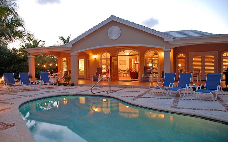 Poolside at Night at Acacia Villa - Acacia Villa - Providenciales - rentals