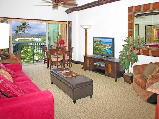Living Room - Waipouli Beach Resort A405 - Kapaa - rentals