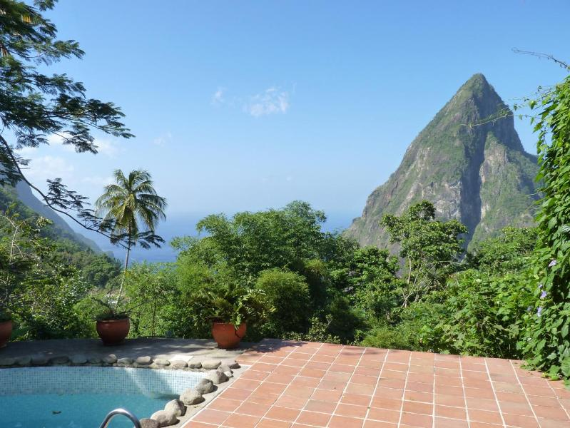 A breathtaking, tropical view from the Coco Pitons Villa - Coco Pitons Villa Overlooking the Pitons Mountains - Soufriere - rentals