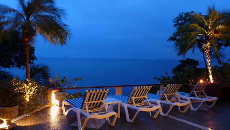 An evening on the patio with landscape lighting to enjoy the night - Stunning 3 BR Villa in Playa Ocotal, Costa Rica - Playas del Coco - rentals