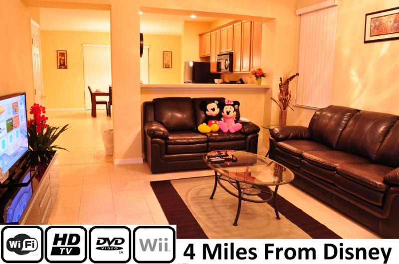 Living Room, 42 Inch HDTV, DVD, Wii, WiFi - 3 Bedroom Disney Vacation Home - 4 miles to Disney - Kissimmee - rentals