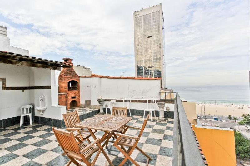 Amazing views of ocean and beach from large terrace on second floor - LEME - 2 Bedrooms Penthouse with Ocean view - Rio de Janeiro - rentals