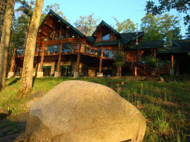 LOOKING AT THE LODGE FROM THE WALKWAY - Ultimate Lake Front Log Home for up to 16 Guests - Cooperstown - rentals
