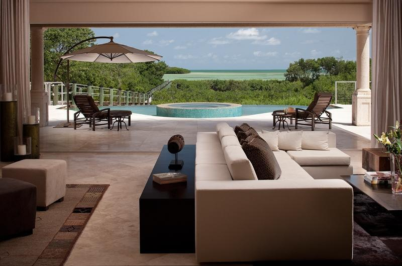 Living Room Opens to the Outside - LargoMar - Key Largo Ocean Front Estate - Key Largo - rentals