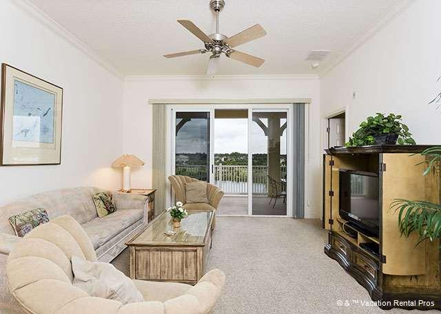 Settle into our stylish, comfy living room and enjoy the views - 943 Cinnamon Beach, 4th Floor, 2 Pools, Elevator, Wifi, - Palm Coast - rentals