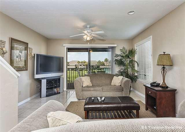 "Views in 2 directions and plenty of comfy seating in our living - Colony Reef 18C, Tennis Villas, Heated Pool, 50"" HDTV - Saint Augustine - rentals"