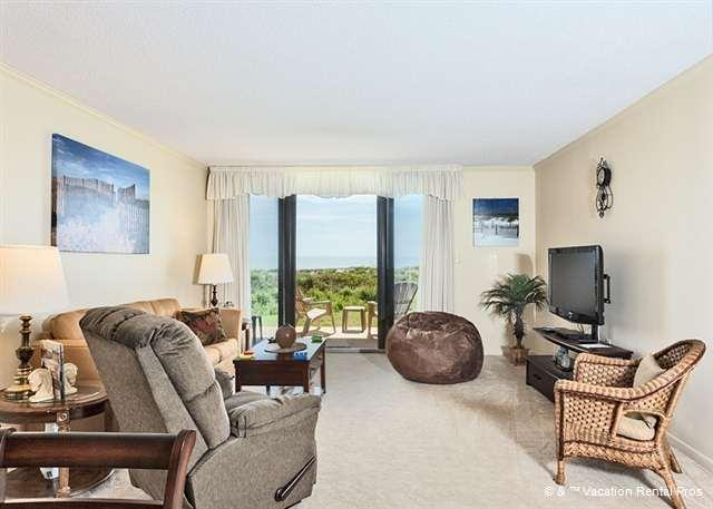 The ocean is never out of sight from the living room! - Barefoot Trace 103, Ground Floor Unit, Ocean Front - Saint Augustine - rentals