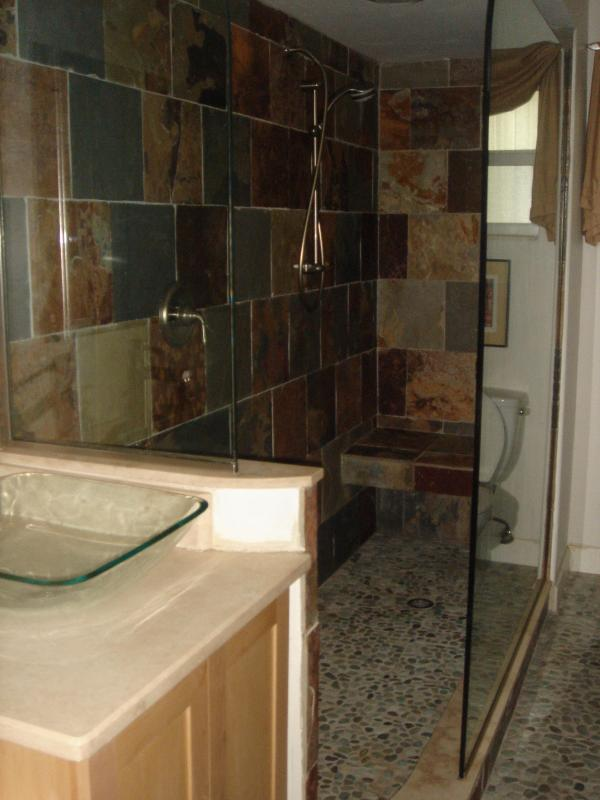 1/1 Guest bath sink and slate shower, stone floor - Indian Beach Suite NW SRQ- 1/1 Summer Deal - Sarasota - rentals