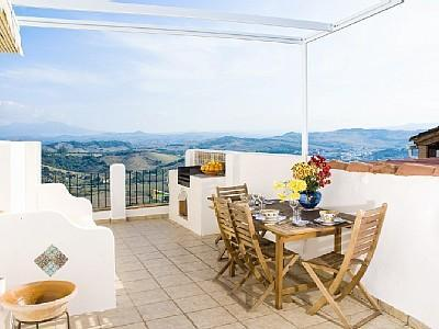top terrace and panoramic view, take a tour of the massive terrace and first floor living areas - Charming Village house with terraces and views - Jimena de la Frontera - rentals
