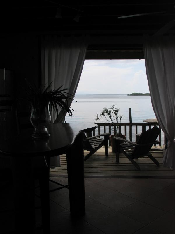 view from the kitchen into the bay - OVER THE WATER RENTALS - footsteps from the beach - Bocas del Toro - rentals