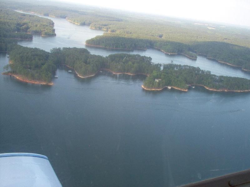 view of dock from the air (center of shoreline) - Log Cabin on Lake Thurmond - McCormick - rentals