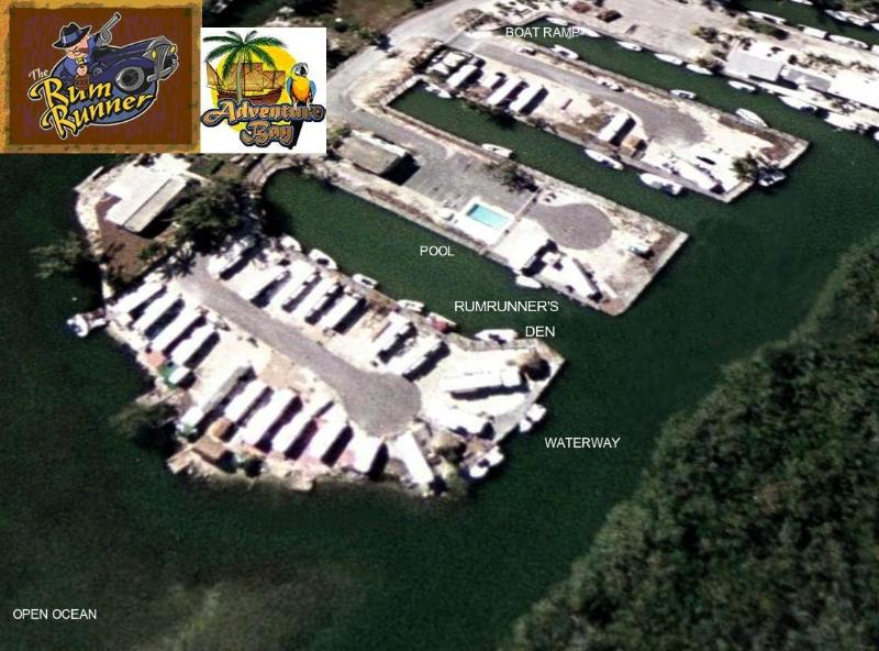 Rumrunner\'s Den from the Air - Oceanside Peninsula - RUMRUNNER'S DEN - 30Ft. of Waterfront w/ Dock - Key Largo - rentals