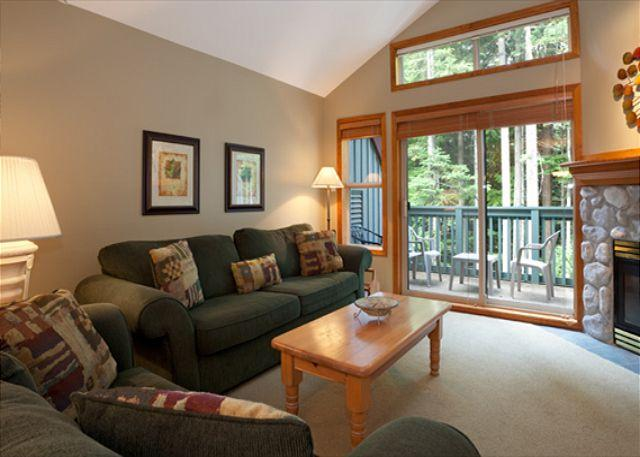 Generous Living Area with Forested View and Deck Access - Arrowhead Point 15 |  2 Bedroom Townhome Near Ski Trail, Private Hot Tub - Whistler - rentals
