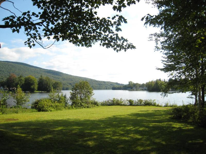view of the lake from the lawn in summer - Charming Berkshires lakefront house, great views - Cheshire - rentals