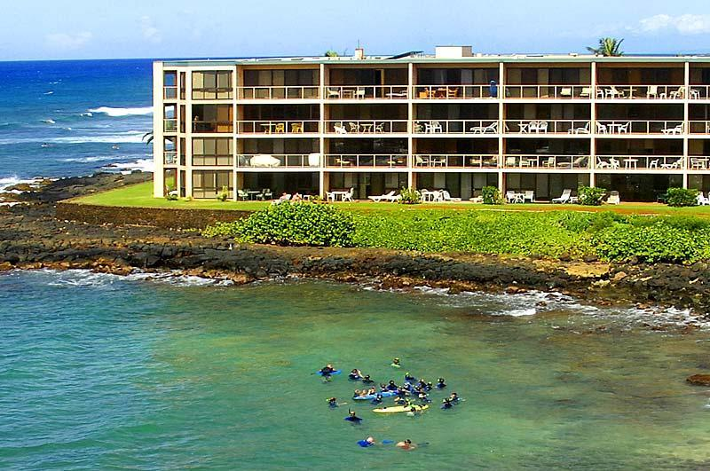 106 is 3rd Lanai from the left on the ground floor - Kuhio Shores 106, 1st floor bay-side, on the beach - Poipu - rentals
