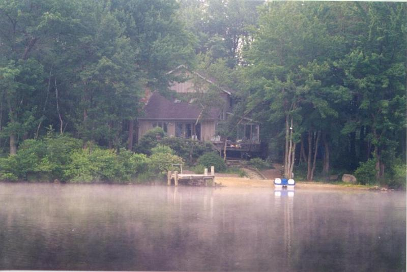 Early morning view from of house from canoe - Pocono Lakefront Retreat - Gouldsboro - rentals