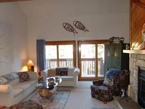 Our living room with wood burning fireplace. Walk out the doors onto the deck and wetlands beyond. - 3 BR/2.5 BA Silverthorne Condo - Sleeps 8-10 - Silverthorne - rentals