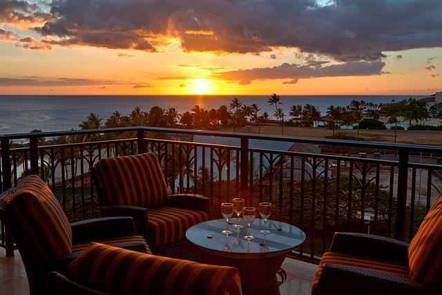 Sunset from the Lanai - The Ocean views from this 7th floor unit are also in the two bedroom suites - Sunset Side of Beach Tower - Ko Olina Beach Villas - Kapolei - rentals