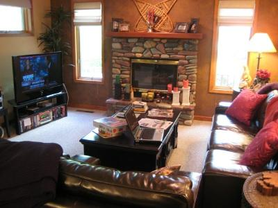 Living room has a gas fireplace  - 3 Bedroom 2 1/2 bath Mtn Harbor condo - Whitefish - rentals