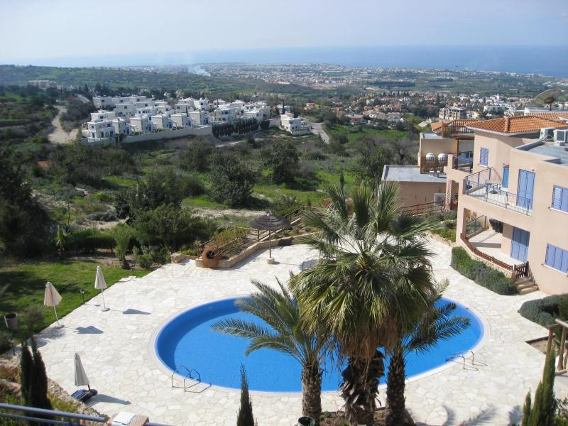 Panoramic view from the verandah and the pool - Apt VICTORIA panormamic views to the Mediterranean - Paphos - rentals