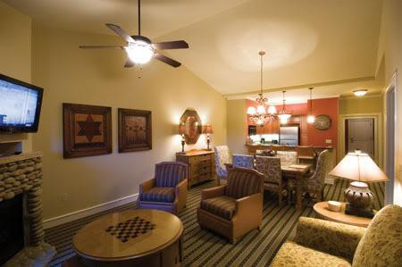 Spacious Living Room with Sleeper Sofa, Fireplace and HD TV. - RiverStone Resort 3 Bdrm - Pigeon Forge - rentals
