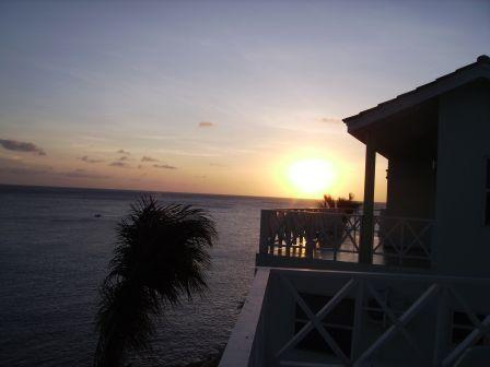 Sunset from upper balcony - Beautiful Oceanfront Condo, Lagun, Curacao - Curacao - rentals