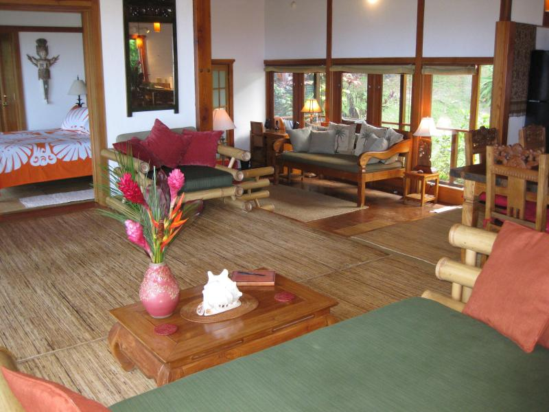 View Out From Bamboo Couch - Hana Sunrise House - Romantic Bali Designed Rental - Hana - rentals