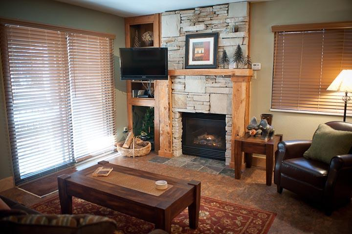 Fireplace, living room view - Red Pine T2 - Superior 1/1 at Canyons Resort - Park City - rentals