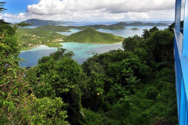 Panoramic View from the Deck, St. John Vacation Rental, Mountain Eyrie, You\'ll want to stay forever - Mountain Eyrie, private, cool - Coral Bay - rentals