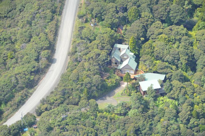 Aerial view showing Unit on the right, Zoom using Ctrl + - Bush Sand and Sea B&B Auckland, New Zealand - Te Henga (Bethells Beach) - rentals