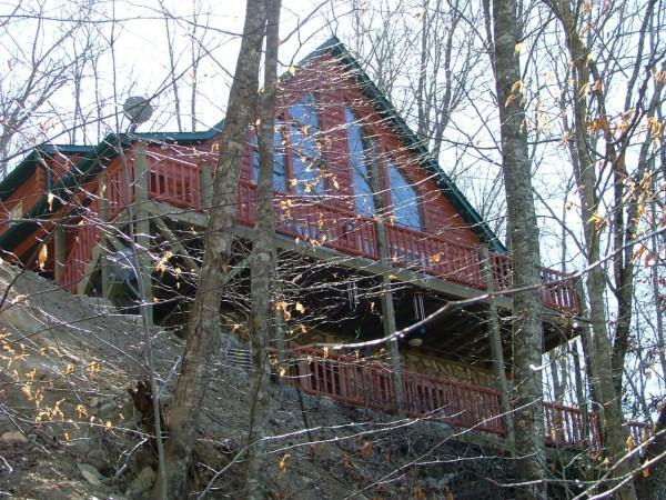 view from below - Cabin by the Lake - Lake Nantahala - rentals