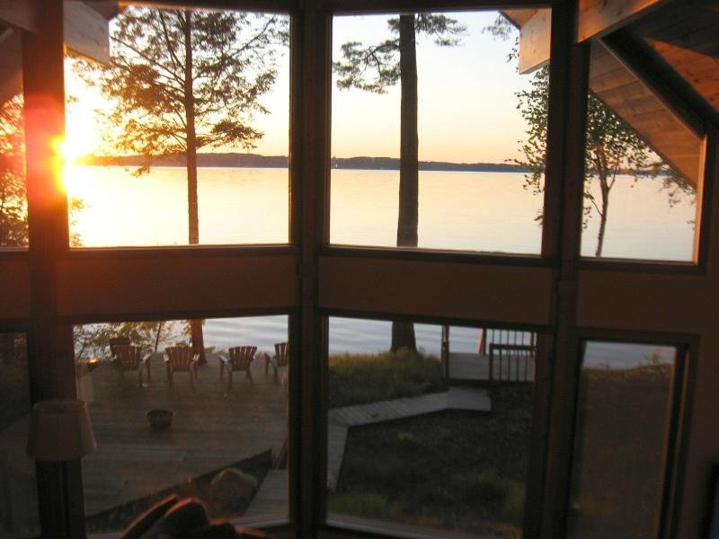 Sunset through Wall of Windows - Sunset Beach House  HDTV-Wifi  225' Private Beach - Traverse City - rentals