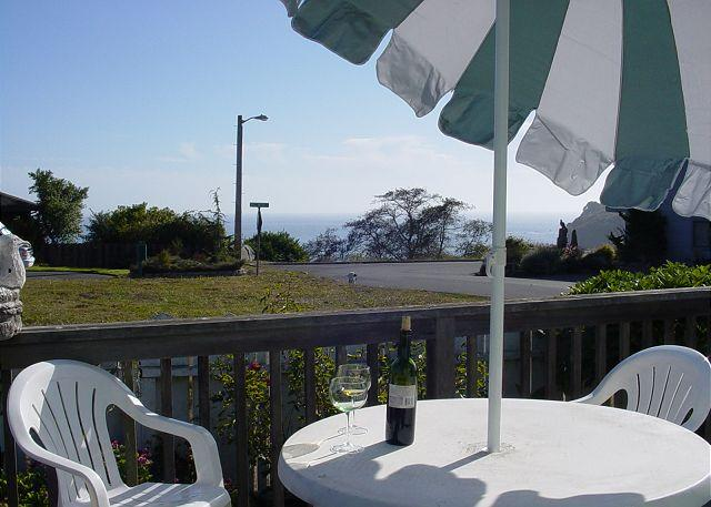 Enjoying the blue ocean views from the deck - Harbor Cottage: Lovely Cottage on quiet street with ocean views & deck - Trinidad - rentals