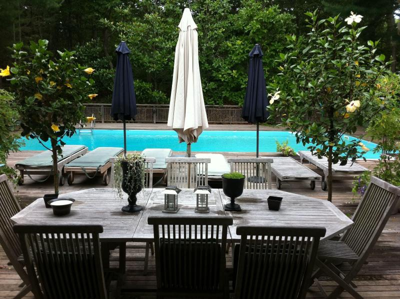 Outdoor teak table seats 8. - Beautiful East Hampton Home, easy all-inclusive pricing - East Hampton - rentals