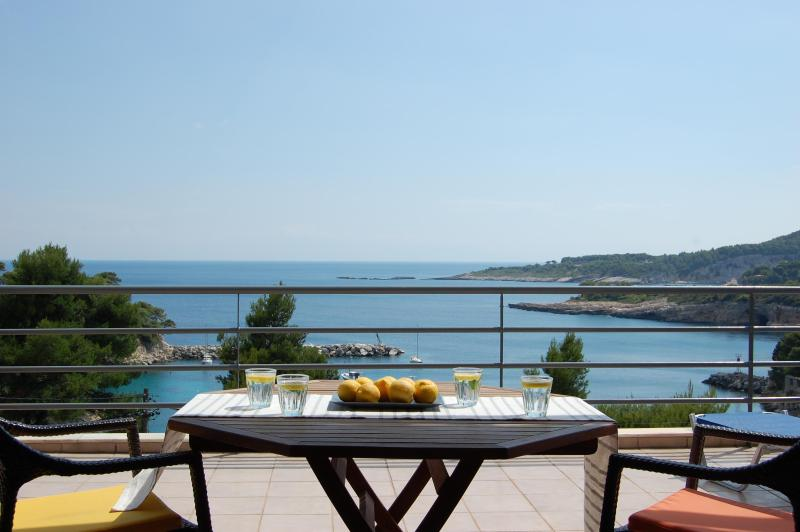The sea view from terrace - Seafront Villa, 6/7 Bedrooms,outstanding location - Votsi - rentals
