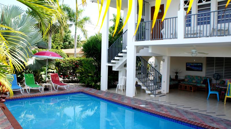 Private pool and poolside patio - Best Family Rental w/Pool Steps from Corcega Beach - Rincon - rentals