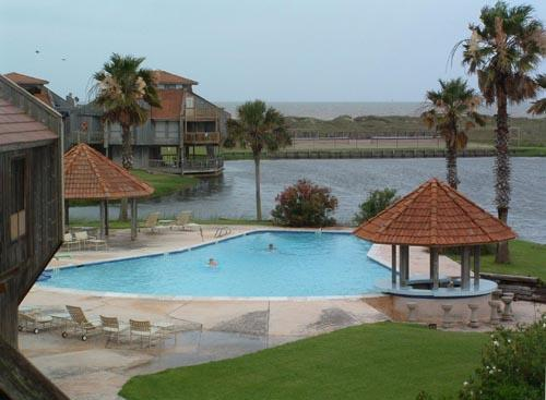 View from Deck of Pool, Lagoon & Gulf - Secluded, tranquil location on the Gulf of Mexico - Matagorda - rentals