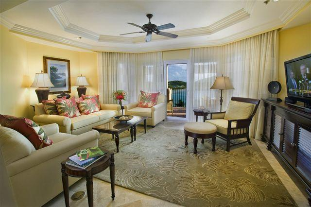 Tasteful and spacious living room - Ritz Carlton Club St Thomas 2 Bedroom Villa - Most Weeks, Best Rates! - East End - rentals
