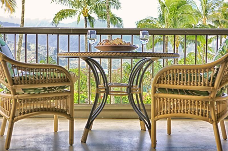 """lanai with view of bay - """" The Decendents Filmed Here"""" - Princeville - rentals"""