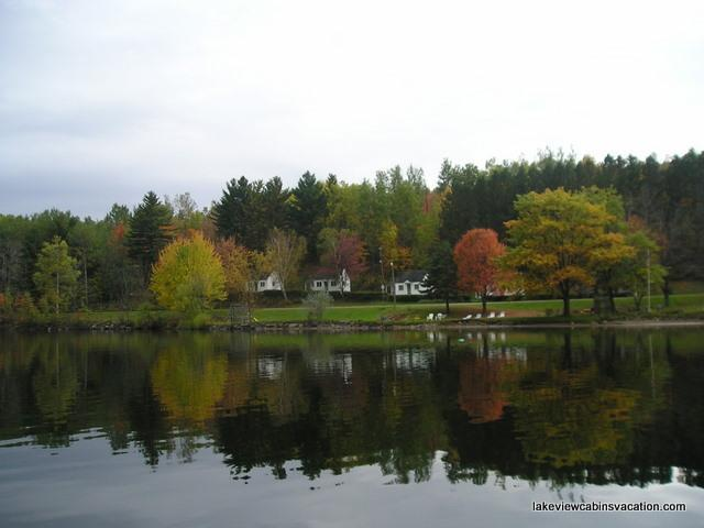 View of Cabins from Crystal Lake in Early Fall - Lakeview Cabins, Barton, VT  | (website: hidden) - Barton - rentals
